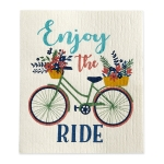 Bicycle Themed Enjoy the Ride Swedish Cotton Dishcloth from Design Imports