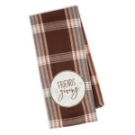 Friends Giving Brown & Red Plaid Cotton Embellished Kitchen Dish Towel 18x28 from Design Imports