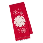 Red & White Falling Snowflakes Embellished Cotton Kitchen Dish Towel 18x28 from Design Imports