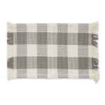 Dove Gray Buffalo Check Design Fringe Cotton Table Placemat 13x22 from Design Imports