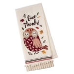Give Thanks Owl Themed Cotton Embellished Kitchen Dish Towel 18x28 from Design Imports