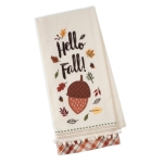 Hello Fall Acorn & Fall Leaves Embellished Cotton Kitchen Dish Towel 18x28 from Design Imports
