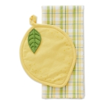 Lemon Shaped Potholder & Kitchen Dish Towel Gift Set from Design Imports