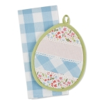 Spring Egg Shaped Flower Accented Potholder & Kitchen Dish Towel Gift Set from Design Imports