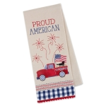 Patriotic Proud American Truck & Fireworks Cotton Embellished Kitchen Dish Towel 18x28 from Design Imports