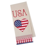 Heart Shaped American Flag Usa Americana Love Embellished Cotton Kitchen Dish Towel 18x28 from Design Imports