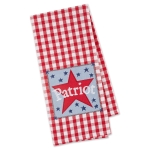 Red & White Buffalo Check Partriot Star Embellished Cotton Kitchen Dish Towel 18x28 from Design Imports