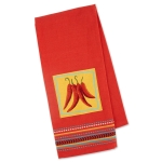 Red & Yellow Hot Peppers Chilis Embellished Cotton Kitchen Dish Towel 18x28 from Design Imports