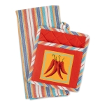 Picante Red Peppers Chilis Potholder & Dish Towel Gift Set from Design Imports