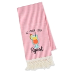 Tropical Drink Themed Eat Beach Sleep Repeat Embellished Cotton Kitchen Dish Towel 18x28 from Design Imports