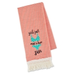 Swimsuit Design Girls Just Want To Have Sun Embellished Cotton Kitchen Dish Towel 18x28 from Design Imports