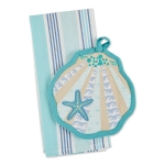 Seashell Shaped Potholder & Beach Striped Dish Towel Gift Set from Design Imports
