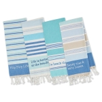 Set of 12 Beach House Vibes Embellished Cotton Dish Towels (Flip Flops & Life Is Better & Beach Time & Sandy Toes) from Design Imports