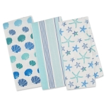 Beach Comber Themed Cotton Kitchen Dish Towel Set of 3 (Seashells & Starfish) 18x28 from Design Imports