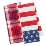 Red White & Blue Patriot Cotton Dishtowels Set Of 2 from Design Imports