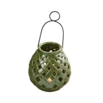 Green Bamboo Lattice Small Ceramic Lantern With Handle 7 Inch from Design Imports