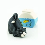 Cat & Fish Bowl Ceramic Salt & Pepper Shakers Set from Design Imports from Design Imports