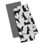 Set of 2 Black & White Cats Print Cotton Dish Towels 18x28 from Design Imports