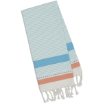 Cool Water Teal L& Orange Stripe Cotton Kitchen Fouta Towel 20x30 from Design Imports