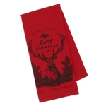 Christmas Stag Red Printed Cotton Dish Towel 18x28 from Design Imports
