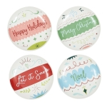 Ornament Themed Appetizer Plate Set of 4 (Merry Christmas & Let Is Snow & Noel & Happy Holidays) from Design Imports