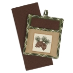 Pinecone Sprig Potholder & Waffle Dish Towel Gift Set from Design Imports