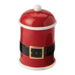 Santa Belt Hand Painted Cookie Jar Canister from Design Imports