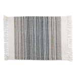 Black Striped Fringe Cotton Table Placemat 13x20 from Design Imports