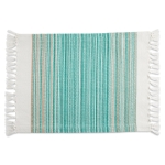 Teal Blue Striped Fringe Cotton Table Placemat 13x20 from Design Imports