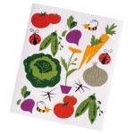 Colorful Veggie Print Design Swedish Dishcloth from Design Imports