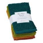 Rustic Bar Mop Cotton Towels Set of 4 (Red Orange Green Blue) 16x19 from Design Imports