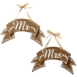 Mr. & Mrs. Wood Banner Set of Signs 12.5 Inch from Design Imports