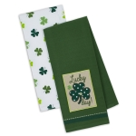 Lucky Shamrock Day Cotton Dish Towels 18x28 Set of 2 from Design Imports