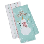 Snowman Design Let it Snow Cotton Dish Towels 18x28 Set of 2 from Design Imports