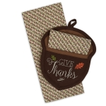 Give Thanks Acorn Potholder & Kitchen Dish Towel Gift Set from Design Imports