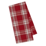 Red & White Sprig Dobby Plaid Cotton Dish Towel 18x28 from Design Imports