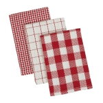 Red & White Holiday Checkered Design Cotton Heavyweight Dishcloth Set of 3 from Design Imports