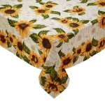Rustic Sunflower Design Decorative Printed Cotton Tablecloth 52x52 from Design Imports