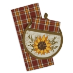 Sunflower Themed Waffle Dish Towel & Potholder Gift Set from Design Imports
