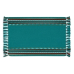 Agate Blue Hacienda Stripe Fringed Cotton Placemat 13x19 from Design Imports