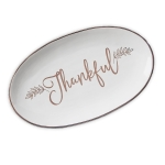 Thankful Decorative Ceramic Platter Dish 9x15 from Design Imports