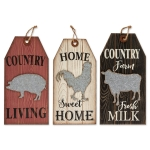 Set of 3 Hanging Farmhouse Tag Signs (Country Living & Home Sweet Home & Farm Fresh Milk) from Design Imports