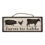Farmhouse Animal Design Farm To Table Decorative Hanging Sign 18.5 Inch from Design Imports