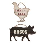 Farmhouse Chicken and Pig Decorative Signs Set of 2 (Farm Fresh Eggs & Bacon) from Design Imports