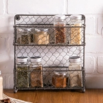 2 Tier Chicken Wire Spice Rack Rustic Finish from Design Imports