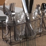 Rustic Chicken Wire Flatware Utensil Caddy with Clear Jars from Design Imports