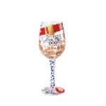 Love My Dog Hand Painted Artisan Wine Glass 15 Oz by Lolita from Enesco