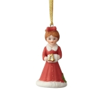 Age 4 Brunette In Red Dress Hanging Porcelain Ornament 3 Inch by Growing up Girls from Enesco