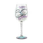 Happy 60th Birthday Hand Painted Artisan Wine Glass 15 Ounce by Lolita from Enesco
