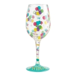 Birthday Balloons Hand Painted Artisan Wine Glass 15 Oz by Lolita from Enesco